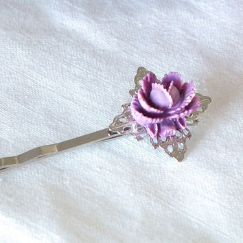 Violet Mini Lucite Rose on Bright Silver Filigree Bobby Pin