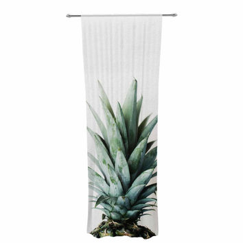 "Chelsea Victoria ""Two Pineapples"" Green Gold Decorative Sheer Curtain"