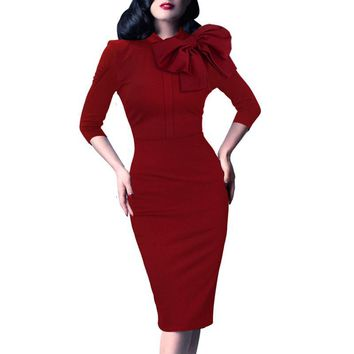 Vfemage Womens Elegant 1950s Vintage Pinup Retro Rockabilly 3/4 Sleeve Bow Party Work Sheath Bodycon Wiggle Pencil Dress 142