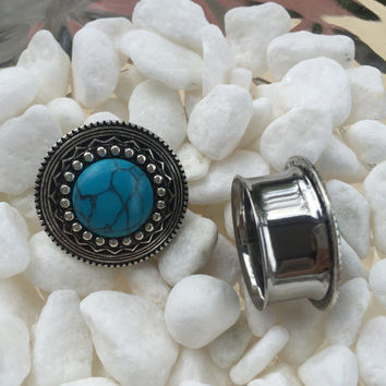 Antique Silver Turquoise Tribal Shield Plugs