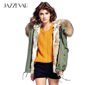 LMF9GW JAZZEVAR Fashion woman army green Large raccoon fur collar hooded coat parkas outwear detachable rabbit fur lining winter jacket
