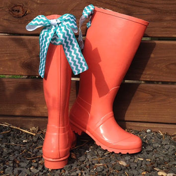 Coral Rain Boot with Your Choice of Custom Bow