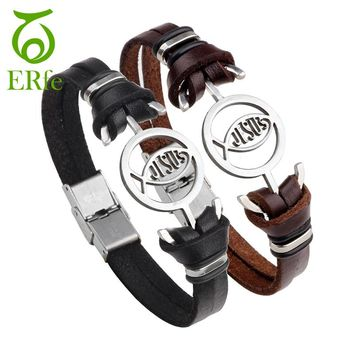 ER Vintage Jesus Fish Bracelet Christian Bracelets Lord's Prayer Braclet Male Leather Wrist Hand Band Ethnic Jewelry LB050