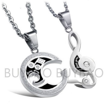 "1 Pair Couple Love Music Note Pendant "" I Love You"" Necklace Chain Valentine Gift = 1930367748"