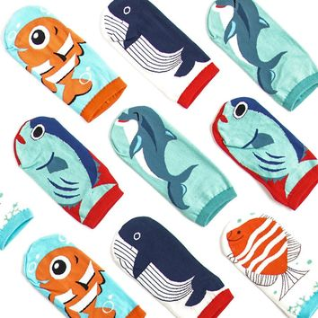 2018 Spring Summer New Cotton Low Cut Ankle Socks Cartoon Illustration Sea Fishes Women Socks Clownfish Shark Whale Dolphin