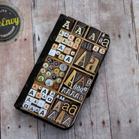 Vintage Letterpress Letters: A, E or M - iPhone 5 / 5s Wallet case