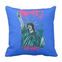 Skull Statue Of Liberty - Liberty Forever Throw Pillow