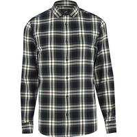 River Island MensGreen check long sleeve shirt