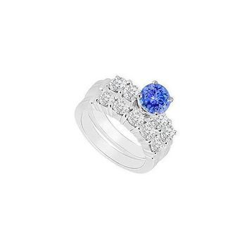 14K White Gold : Tanzanite and Diamond Engagement Ring with Wedding Band Set 1.40 CT TGW