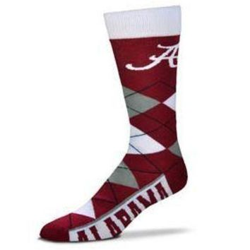 DCCKG8Q NCAA Alabama Crimson Tide For Bare Feet Argyle Socks
