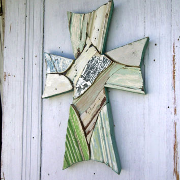 Reclaimed Wood Art, Celtic Mosaic Cross, Distressed Wood Cross, Wooden Wall Cross