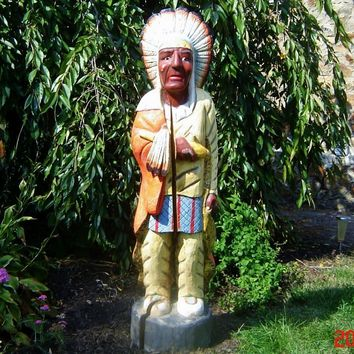 Vintage Americana Hand Carved Wooden Cigar Store Indian Statue