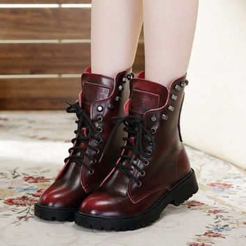 2017Winter New Genuine Leather Women Boots Rivets Fashion Mid-Calf Boots For Women Shoes Platform Red Black Plus Size 40 ZK15