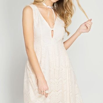 Vanilla Lace Fit + Flare Dress