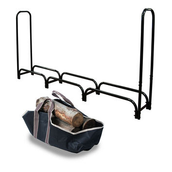 12ft Outdoor Heavy Duty Steel Firewood Log Rack w Wood tote Storage Holder Black