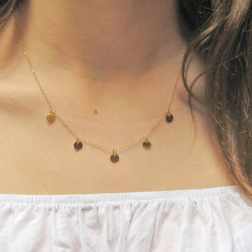 Tiny Disc Necklace, Coin Disc Necklace, 14k Gold Fill or 925 Sterling Silver, Dainty Thin Chain, Layering Necklace, Delicate Jewelry