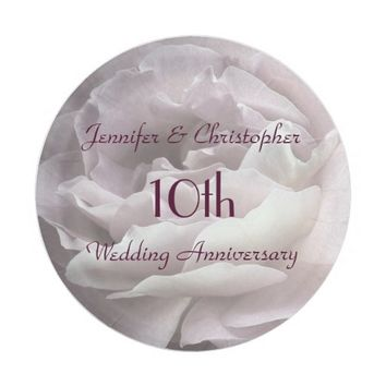 Pink Rose Paper Plates, 10th Wedding Anniversary Paper Plate
