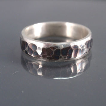sterling silver ring hammered with polished lateral stripes 5 mm wedding ring handmade mens ring handmade jewelry
