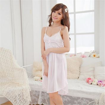 High Quality Women Lace Suspender Sleepwear Robes Girl Imitation Silk Night Dress Nightgown Sleep Dresses