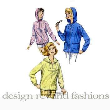 60s HOODIE JACKET PARKA Pattern Lightweight Beach Jacket Hoodie Pullover Front Zip Bust 38 40 Simplicity 5256 Womens Vintage Sewing Patterns