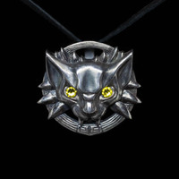 Cat School Medallion Pendant, Witcher, silver, handmade ... Cat Head Pendant