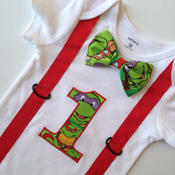 Ninja First Birthday Onesuit, Boys 1st Birthday, Birthday Outfit, Boys Birthday Onesuit, First Birthday Onesuit, TMNT Birthday Shirt
