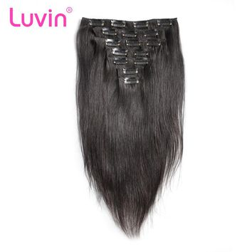 Luvin Brazilian Remy Hair Clip In Human Hair Extensions Straight Natural Color 7 Pieces/Set 70G Natural Hair For Black Women