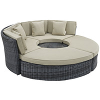 Summon Circular Outdoor Patio Daybed Sunbrella Antique Canvas Beige