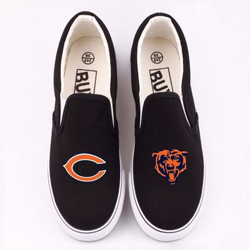 Chicago Bears Printed Canvas Loafers Men Flat Walking Shoes