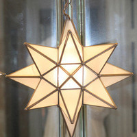 "Moravian  13.5"" frosted glass star with antique bronze trim and ceiling canopy"