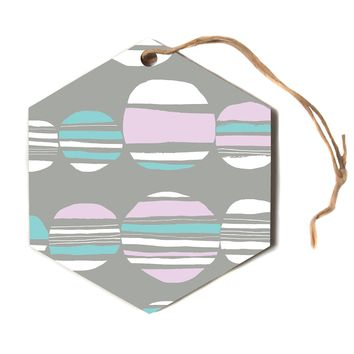 "Emine Ortega ""Retro Circles Pastel""  Hexagon Holiday Ornament"