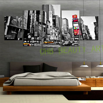 5 Panels Canvas Print Painting Time Square New York Artwork Wall Pictures For Living Room Home Decor Unframed