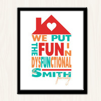 Multicolor Dysfunctional Family Print  8x10  by tiedyejedi on Etsy