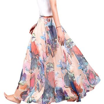 Lace Girl Boho Long Skirt Women 2017 New Summer Boho Skirts Chiffon Floral Print Women Skirt Bohemian Beach Maxi Skirt