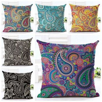 Elegant Ethnic Cushion Cover Printed Paisley Almofada Boho Throw Pillow Case For Sofa Chair Decorative Floral Cojines Home Decor