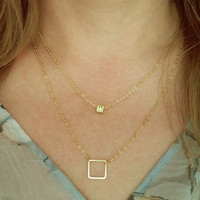 Gold Square Necklace / Minimalistic Jewelry / Open Square Necklace / Minimal Choker / Geometric Jewelry / Layering / N167