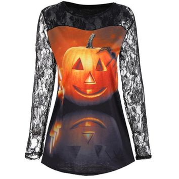 Halloween Pumpkin Print Round Neck Long Sleeve Lace Cutout Piecing T-Shirt Halloween Costume Skeleton T-shirt Tops