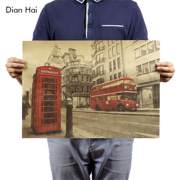 London Red Buses And Telephone Booths Kraft Cafe Bar Decorated 51x35.5cm Home Decor Vintage Paper Poster