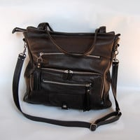Willow leather tote bag in black - silver hardware