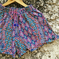 Floral Stripe Ruffle Hem Shorts printed Boho Summer Hippie Clothing Ethnic Bohemian Ikat short pants for women festivals Cloth Gypsy in blue