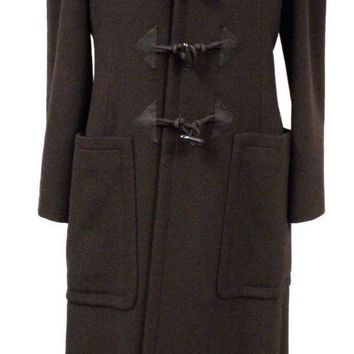 Authentic Hermes Cashmere Toggle Duffle Maxi Coat RARE Brown MINT 38/6-8