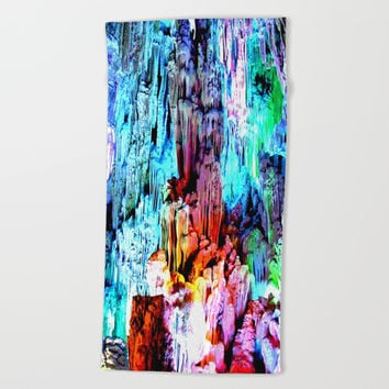 Cavern in Greece Beach Towel by Azima