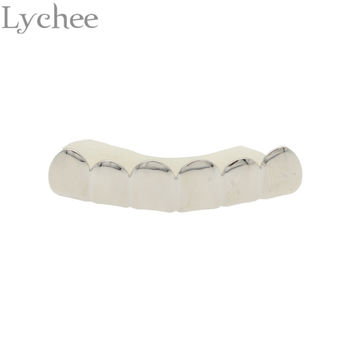 Lychee Hip Hop Gold Color Vampire Teeth Cap Mouth Grillz Caps Top Bottom Grill Dental Grills Set Jewelry