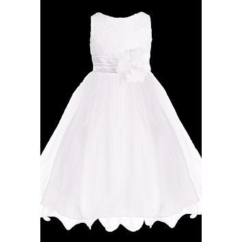 Girls White Sequin Party Dress w. Lettuce Tulle Hem 2T-14