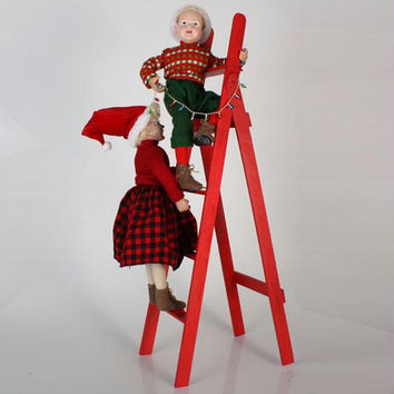 Christmas Decorations - Girl And Boy On Ladder