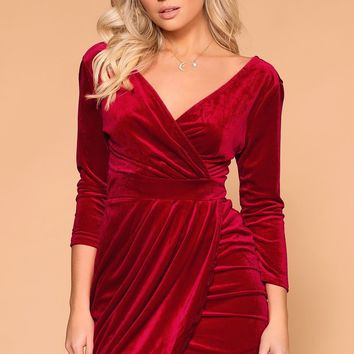 Lady Luck Red Velvet Wrap Mini Dress