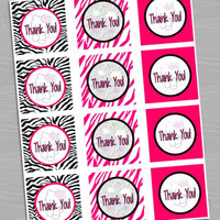 "Hello Kitty Birthday Party or Baby Shower Favor Tags Thank You - Printable Instant Download - 8"" x 1.85"" - 5 per sheet - hot pink zebra"