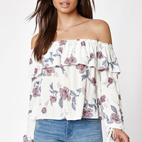 Kendall & Kylie Long Sleeve Off-The-Shoulder Ruffle Top at PacSun.com