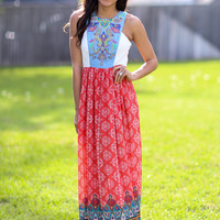 Heading West Maxi Dress - Red