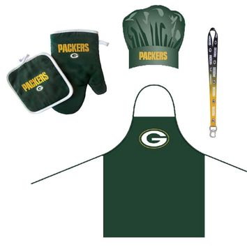 Green Bay Packers NFL Barbeque Apron and Chef's Hat and Oven Mitt with Bottle Opener